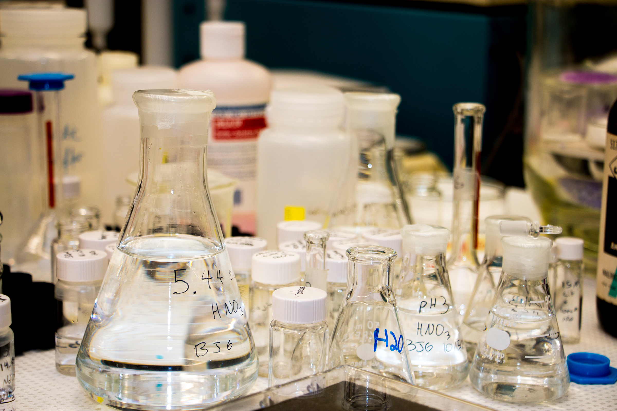 Beakers in the radiochemistry lab